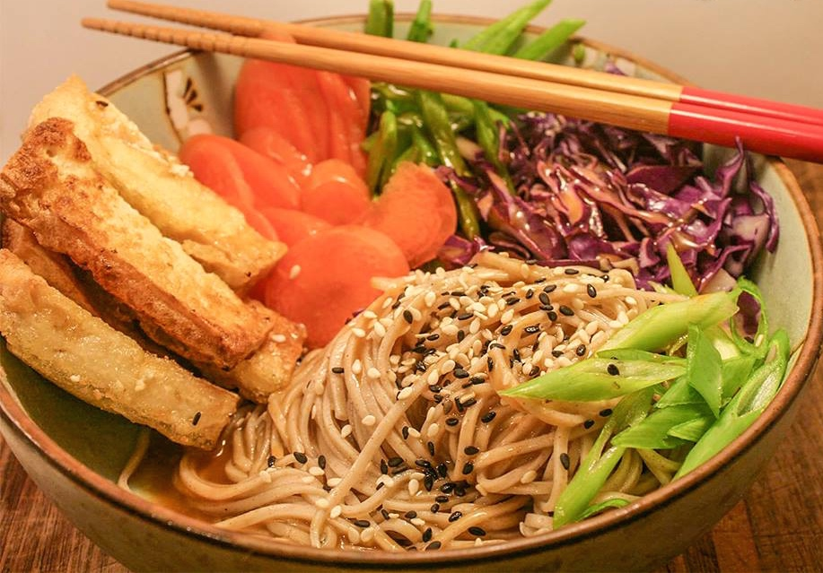 Cold Soba Noodle Salad Bowl with Fried Tofu and Miso ...